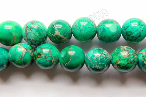 Emerald Impression Jasper A  -  Smooth Round Beads  16""