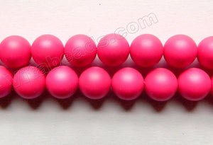Frosted Deep Fuchsia Shell Pearl  -  Smooth Round Beads 16""