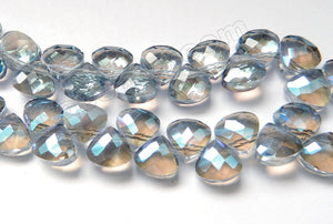 Mystic Light Blue Grey Crystal Quartz  -  Faceted Flat Briolette