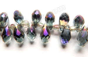 Mystic Dark Purple Grey Peacock Crystal  -  Faceted Long Teardrops  8""