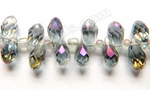 Mystick Light Purple Grey Peacock Crystal  -  Faceted Long Teardrops  8""