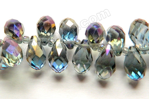 Mystic Purple Grey Peacock Crystal  -  Faceted Long Teardrops  8""