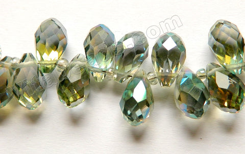 Mystic Green Yellow Peacock Crystal  -  Faceted Long Teardrops  8""