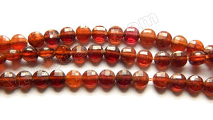 Dark Orange Garnet A  -  Small Diamond Cut Coins 15""