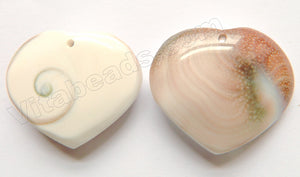 Light Lavender (Brown) - MOP Pearl Shell  Heart Pendant