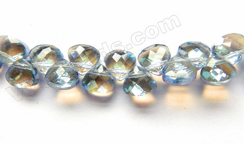 Mystic Light Blue Grey Crystal Quartz  -  10mm Faceted Flat Briolette