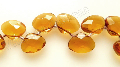 Amber Crystal - Faceted Flat Briolette 6""