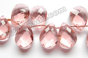 Pink Peach Crystal  -  Faceted Flat Briolette  8""