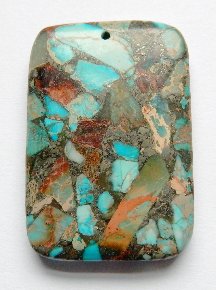 Pendant - Smooth Rectangle Brown Blue Turquoise Compressed Jasper
