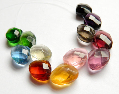 Mixed Crystal  -  12 Color Sampler Set  -  Faceted Flat Briolette