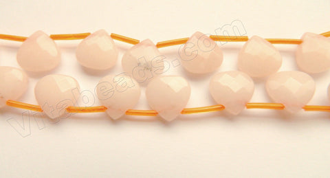Pale Pink Peach Jade w/ Black Spot  -  Faceted Flat Briolette 16""