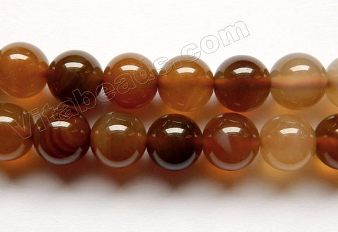 Mixed Brown Agate  -  Smooth Round Beads  16""