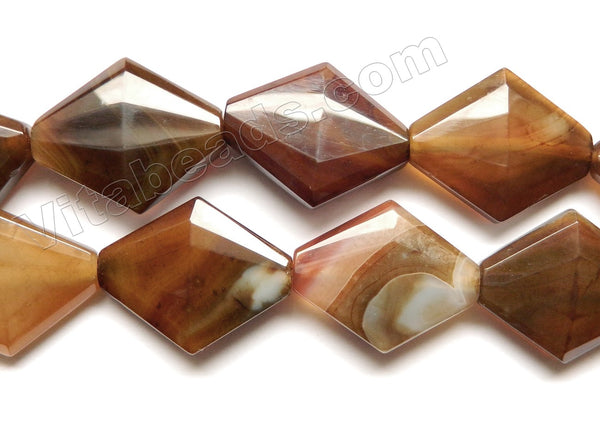 Mixed Brown Agate  -  Faceted Diamond  16""