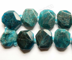 Dark Apatite w Brown Natural HK  -  Graduated Center Drilled Faceted Rectangles w/ Spacer  16""