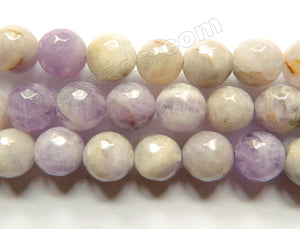 Light Cape Amethyst  -  Faceted Round Beads 15""