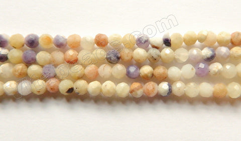 Light Flower Sugilite Natural  -  Small Faceted Round Beads 15""