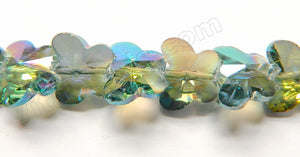 Mystic Green Peacock Crystal  -  Diamond Cut Butterfly Beads