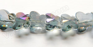 Mystic Grey Purple Peacock Crystal  -  Diamond Cut Butterfly Beads