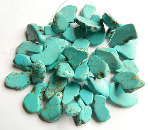 Blue Cracked Turquoise  -  Irregular Slabs Top Drilled