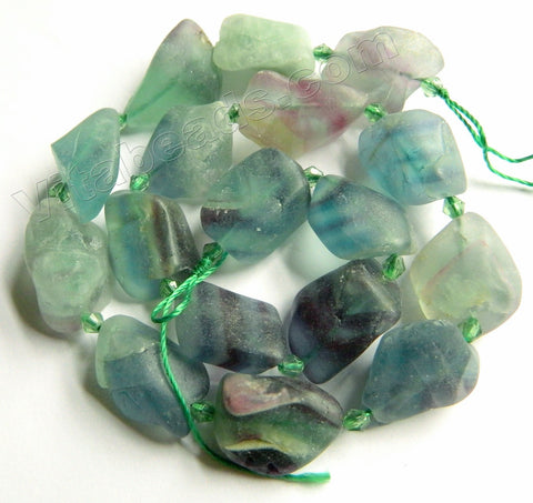 Raw Rainbow Fluorite  -  Matte Tumble  16""