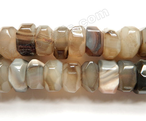 Light Grey Botswana Agate  -  Big Machine Cut Rondels  15""