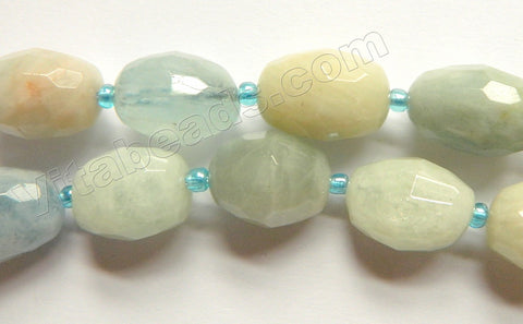 Light Mixed Aquamarine  -  Graduated Faceted Tumble w/ Spacer 15""