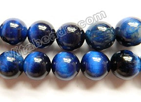 Sapphire Blue Tiger Eye AAA  - Smooth Round Beads 16""