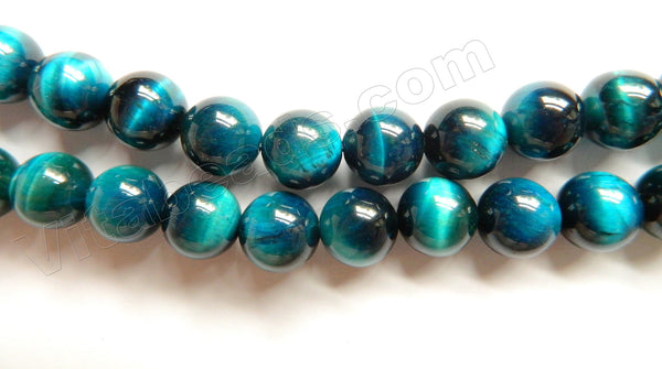 Turquoise Blue Tiger Eye AAA  -  Smooth Round Beads 15""