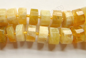 Yellow Opal Natural A  -  Faceted Wheels w/ Spacer  16""