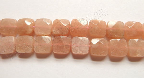 Pink Moonstone Natural AAA  -  Faceted Squares 15""