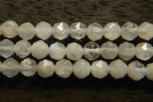 Rainbow Moonstone Natural A  -  Small Diamond Cut Round  15""