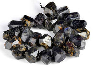 Dark Iolite Natural  -  Machine Cut Center Drilled Nuggets w Spacer  15""