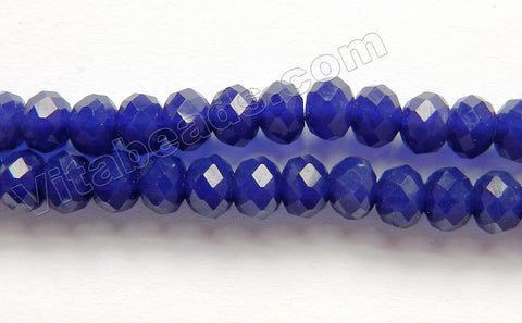 Deep Lapis Quartz  -  Faceted Rondel  16""