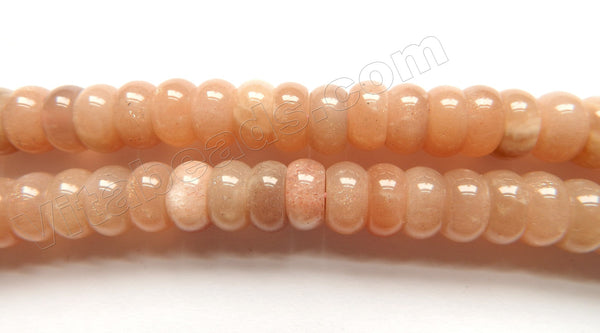 Pink Moonstone Natural AAA  -  Smooth Rondel  15""