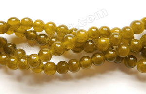 Green Amber Semi Transparent Jade  -  Smooth Round Beads  16""