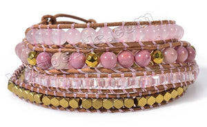 BOHO Style Wrap Bracelet -   w/ Rhodonite, Rose Quartz Round Beads