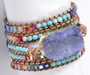 BOHO Style Wrap Bracelet -   w/ Purple Druzy Center Piece