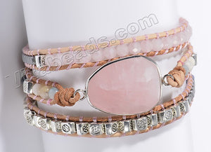 BOHO Style Wrap Bracelet -   w/ Faceted Rose Quartz Center Piece