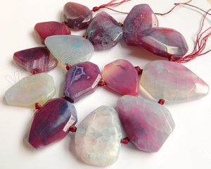 Violet Purple Fire Agate Light  -  Graduated Center Drilled Faceted Flat 16""