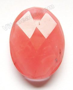 Cherry Quartz - Faceted Oval Pendant