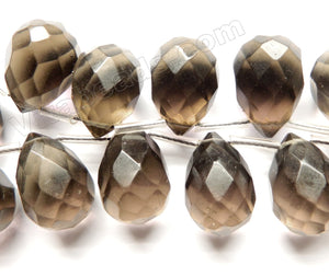 Smoky Crystal Quartz Light -  18x25mm Faceted Teardrop 8""