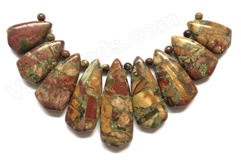 Brown Fire Impression Pyrite Recompose Stone  9pc Big Teardrop Slab Pendant Set