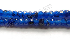 "Multi Deep Lapis Jade  -  Small Faceted Rondells  15"" 4mm"