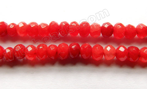 Bright Xmas Red Mashan Jade  -  Small Faceted Rondel  15""