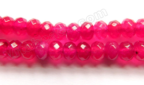 Ruby Red Jade  -  Faceted Rondel  14""