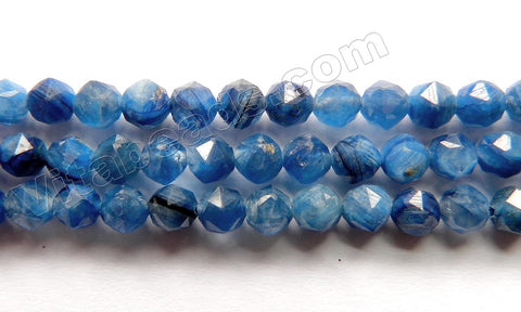 Deep Blue Kyanite Natural AAA  -  Diamond Cut Faceted Round 15""