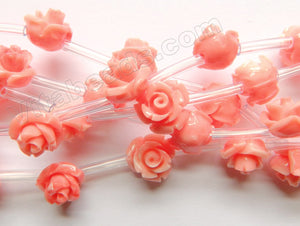 Synthetic Pink Peach Coral Stone  -  Carved Rose Bulb Strand  15""