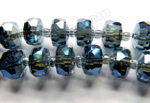 Mystic Dark Blue Grey Peacock Crystal  -  Faceted Heishi w Spacer 12""