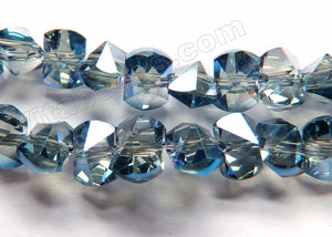 Mystic Dark Blue Grey Peacock Crystal  -  Center Drilled Double Pyramid Cut Beads