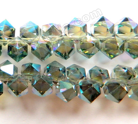 Mystic Green Peacock Crystal  -  Top Drilled Diamond Cut Beads 8""